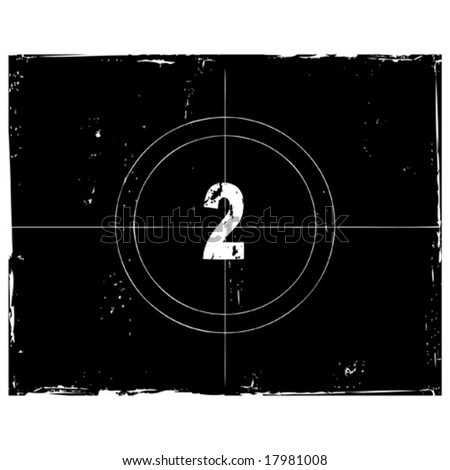 Retro film countdown vector illustration. Number 2 (see similar vectors in my profile) - stock vector