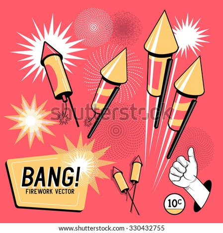 Retro Firework Rockets.Firework rockets, various angles and effects. Vector illustration. - stock vector