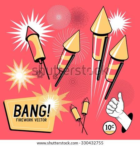 Retro Firework Rockets. Vector illustration. - stock vector