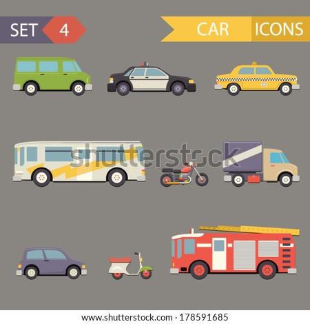 Retro Flat Car Icons Set vector - stock vector