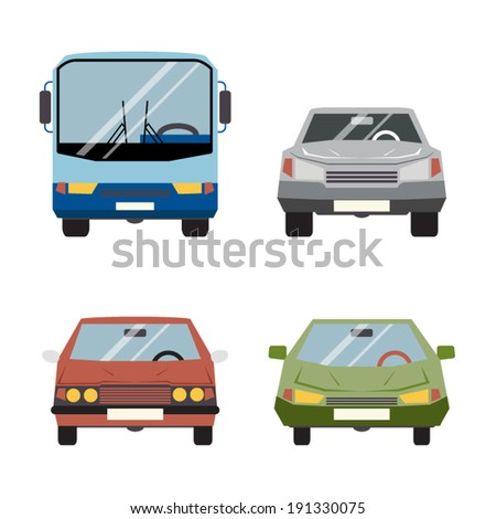Retro Flat Car Icons Set Vector Illustration - stock vector