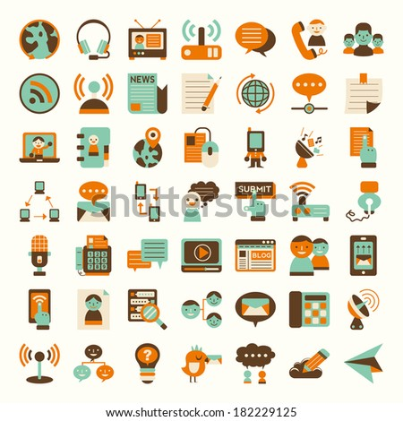 Retro flat communication icons set - stock vector