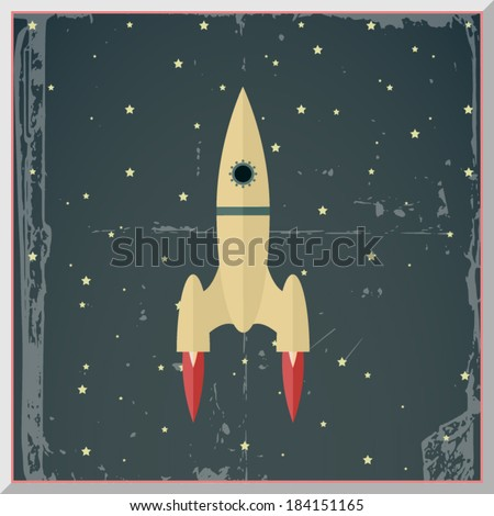 Retro Flat Design Rocket Start Space Stars Background Vector Illustration - stock vector