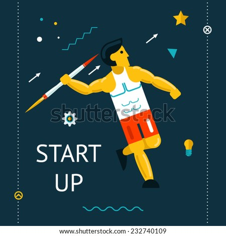 Retro Flat Design Space Launch Start Up Rocket  Thrower Businessman Concept New Business Project Development Innovation Product on Market on Stylish Color Background Vector Illustration