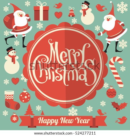 Retro flat design vintage Christmas and New Year greeting card vector template with flat design decoration elements set -- Santa, showman and snowflake.
