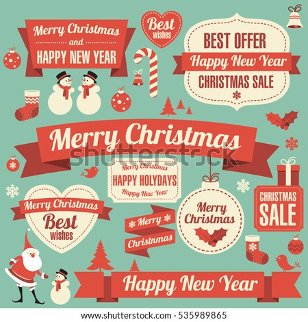 Retro flat design vintage Christmas and New Year greeting card vector template with flat design decoration elements set -- Santa, showman and snowflake
