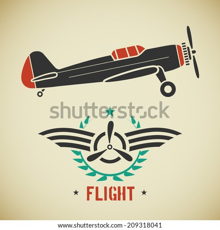 Retro flat looking plane and emblem with wings and propeller - stock vector