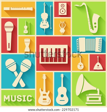 Retro flat music instruments icons pictograms background concept. Vector illustrator for web and mobile template - stock vector