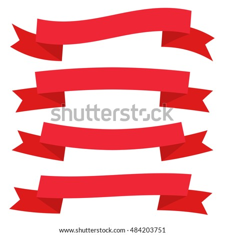Retro Flat Ribbon Red Decorative Banners Vector Collection On White Background