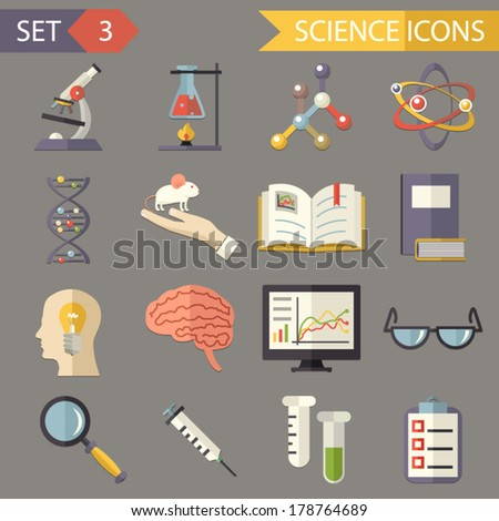 Retro Flat Science Icons and Symbols Set vector - stock vector