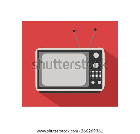 Retro flat TV icon with shadow and red background. - stock vector