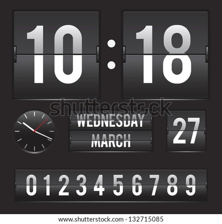 retro flip clock with date and analog dial timer vector template - stock vector