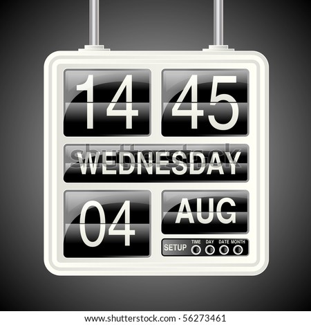 Retro flip down clock and calendar eps10 compatible vector.  All numbers, dates, months, hours and minutes included on the bottom layer.