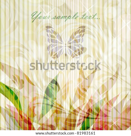 Retro floral background for card isolated on grunge backdrop with your text (vector version eps 10). Perfect for element design, web, sign, symbol, icon, emblem, tattoo, label. - stock vector