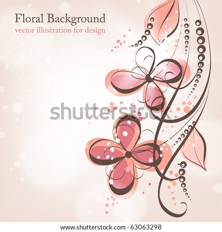Retro floral background with abstract leafs and flowers for vintage design. eps 10 - stock vector