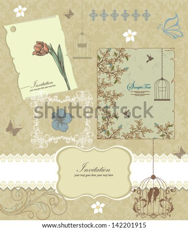 Retro floral card for events - stock vector