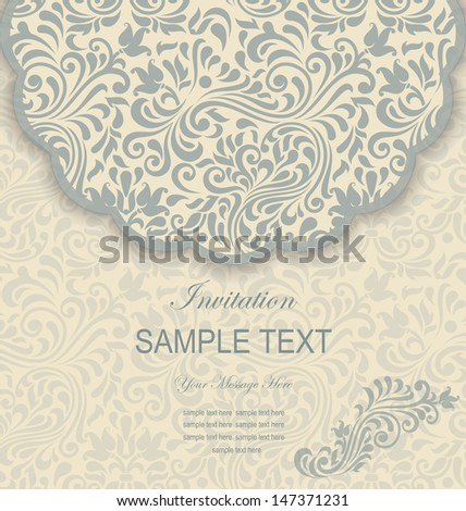 retro  floral invitation card