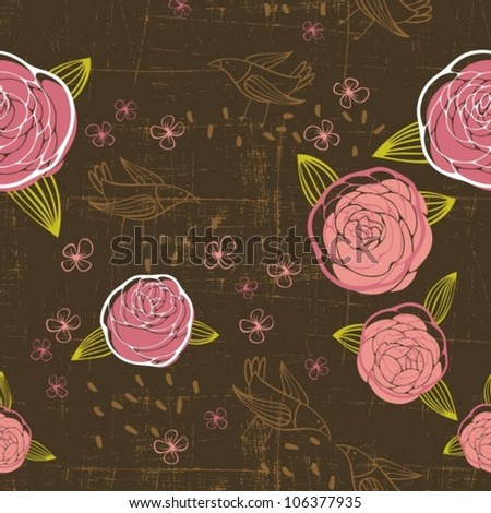 retro floral pattern with birds