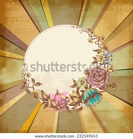 Retro floral round frame over old paper background - stock vector