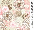 Retro floral seamless background. Romantic seamless pattern in vector - stock vector