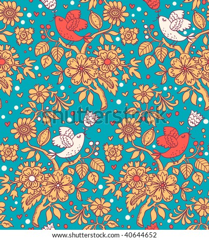 Retro floral seamless pattern with cartoon birds