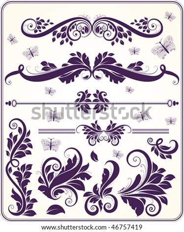 Retro floral vector ornament set - stock vector