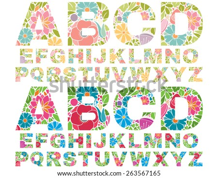 Retro Flower Alphabet Uppercase - stock vector