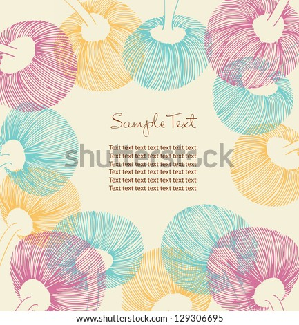 Retro flower banner with place for your text. Cartoon design elements for cards, arts, crafts, invitations. Vintage flourish background. Ornate spring border - stock vector