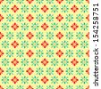 retro flower pixel pattern - stock photo