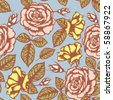 Retro flower seamless pattern - roses - stock