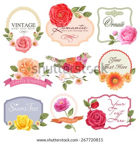 Retro flowers in vector. Cute floral bouquets. Vintage floral set - stock vector