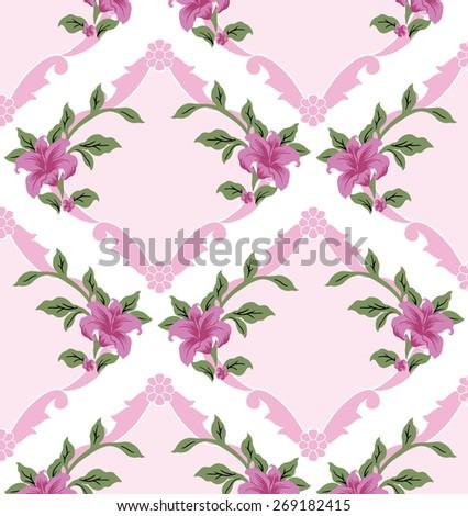 Retro Flowers on background. - stock vector