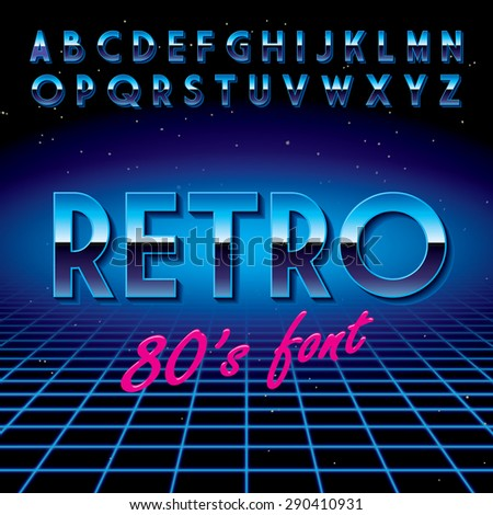 Retro font. Stylized to disco! Vector illustration