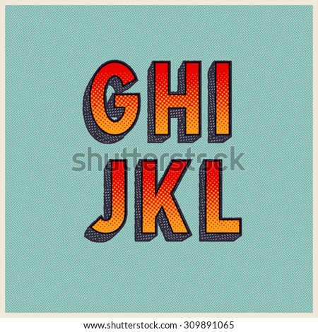 Retro Font with Halftone Dots. Vector Grunge Alphabet from G to L - stock vector