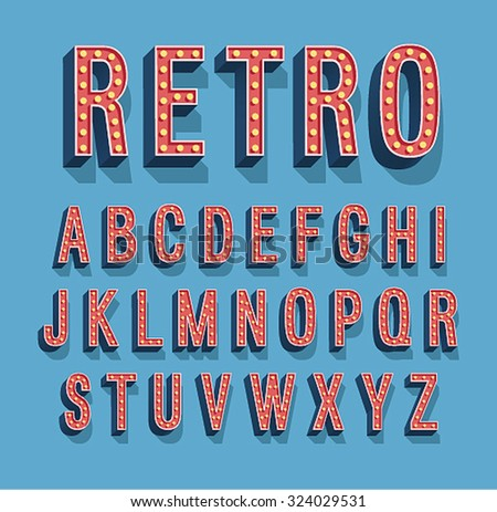 Retro font with light bulbs. Vector illustration. - stock vector