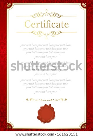 retro frame certificate template - stock vector