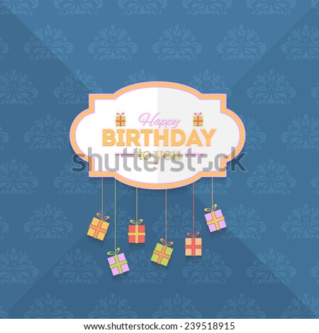 Retro Frame Gift Boxes Hanging Flat Happy Birthday Vector Design. Announcement and Celebration Message Card - stock vector