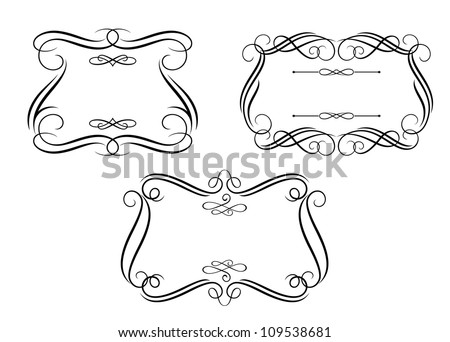 Retro frames and borders set in calligraphic style for design. Jpeg version also available in gallery - stock vector