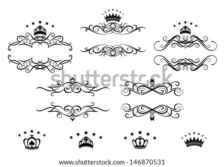 Retro frames set with royal crowns for heraldry design or idea of logo. Jpeg version also available in gallery - stock vector