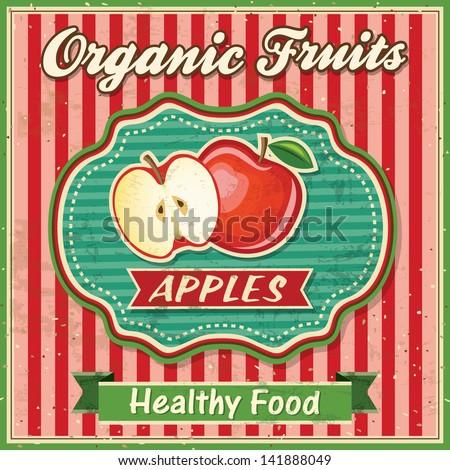 Retro Fresh Apple Poster Design - stock vector