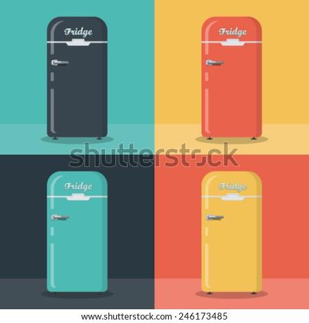 Retro fridge,  different color - stock vector
