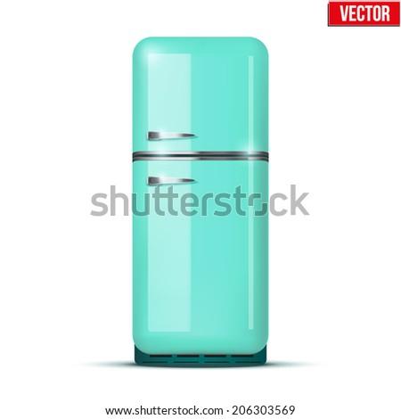 Retro Fridge refrigerator in azure retro color. Household appliances. Vector isolated on white background - stock vector