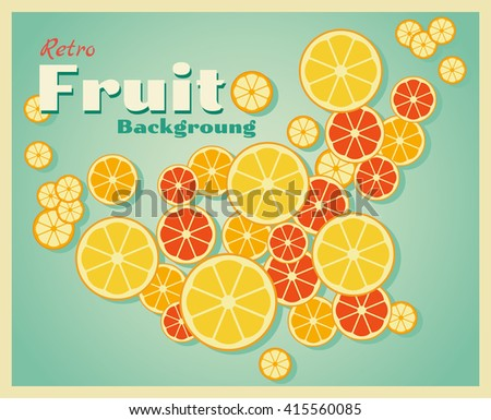 Retro fruit background with oranges, vector, illustration