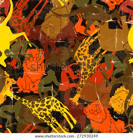 Retro funny colorful abstract animal silhouettes seamless pattern. - stock vector