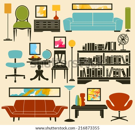 Retro Furniture and Home Accessories, including sofas, armchairs, club chair, office chair, coffee table, side tables, bookshelf, lamps and home decoration - stock vector