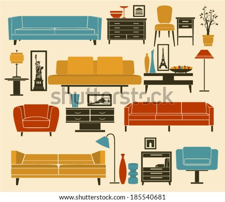 Retro Furniture and Home Accessories, including sofas, love seat, armchairs, coffee and side tables and interior decoration - stock vector
