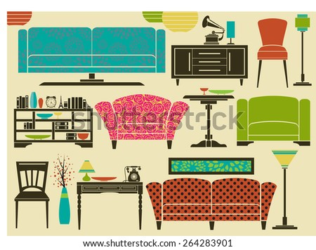 Retro Furniture and Home Accessories - Set of furniture and home decoration, including sofa, love seat, armchairs, side tables, floor lamps and chandeliers - stock vector