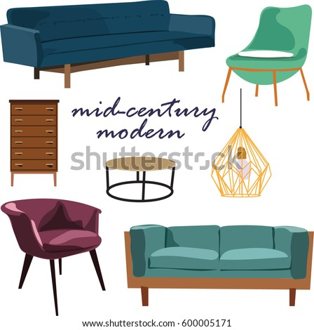 retro furniture collection set elements. realistic looking mid century  modern living room. sofa,