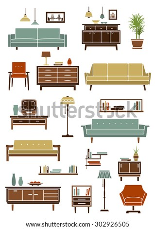 Retro furniture with various sofas and armchairs, floor and pendant lamps, wooden bookshelves, chest of drawers and bedside table with tv and home interior accessories. Flat style - stock vector