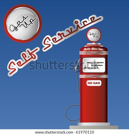 Retro gas pump - stock vector